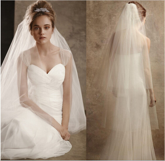 2017 New Elegant Wedding Veil with Cut Edge 2 Layers Whit Ivory Wedding Accessories Wedding Dress Stock Bridal Veil With Comb
