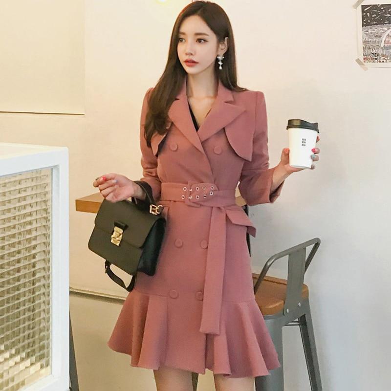Automne printemps 2019 femmes manches longues Trench robe Vintage mode mi-longue Double-boutonnage volants Blazer robe Trench vêtements d'extérieur