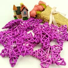 10Pcs 6CM Purple Lovely Rattan Star Sepak Takraw Christmas Birthday Wedding Party Decorations Home DIY Ornaments Ball Kid
