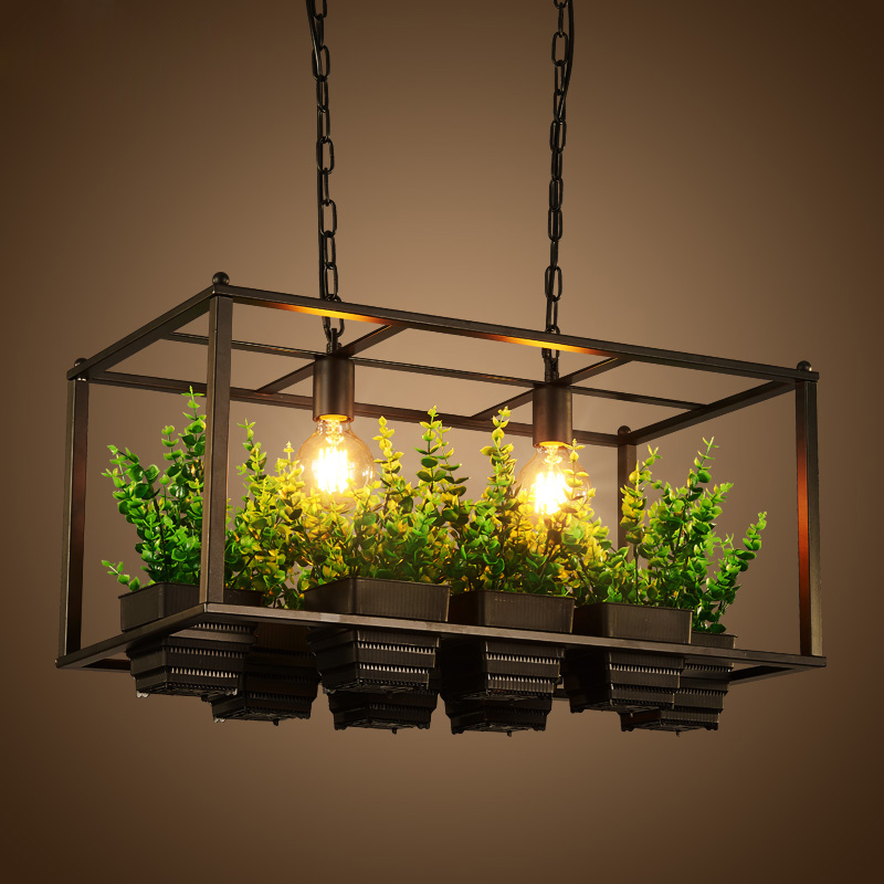 Nordic retro personalized plant black iron metal box pendant light shop bar restaurant l ...