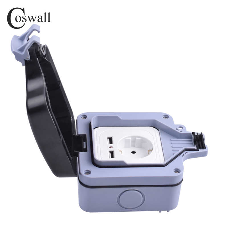 Coswall IP66 Weatherproof Waterproof Outdoor 16A EU Standard Wall Power  Socket With Dual USB Charging Port 2 4A Output