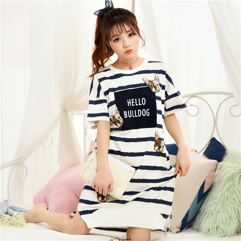Summer 2018 Striped Nightgown Nightdress Cute Hello Bulldog Cotton Home Wear Short Sleeve Loose pyjamas D81503