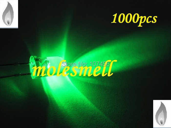 free shipping 1000 x 5mm green Candle Light Flicker Ultra Bright Flickering green LED candle green