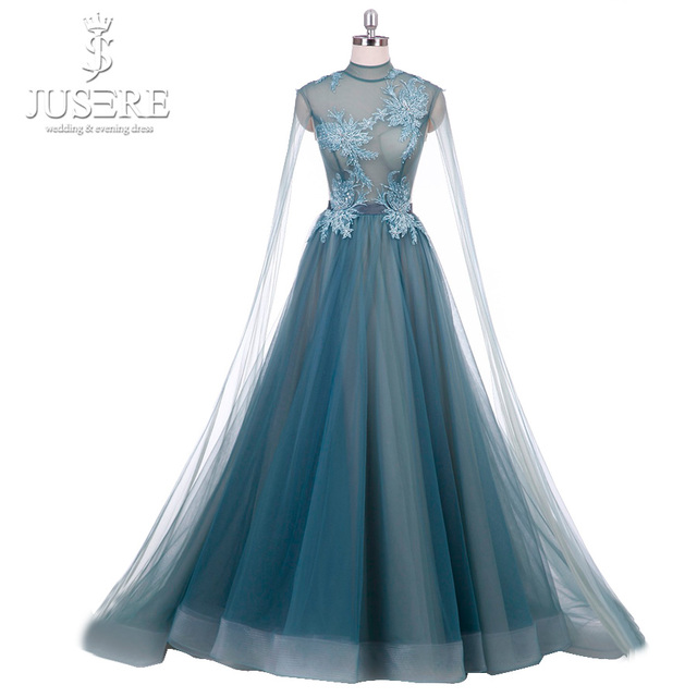 1fe863213a US $435.0 |Real Pic Cyan Blue Evening Dress High Neck Corset Back A line  Tulle Prom Dress Beaded Appliques robe de soiree with Tail-in Prom Dresses  ...