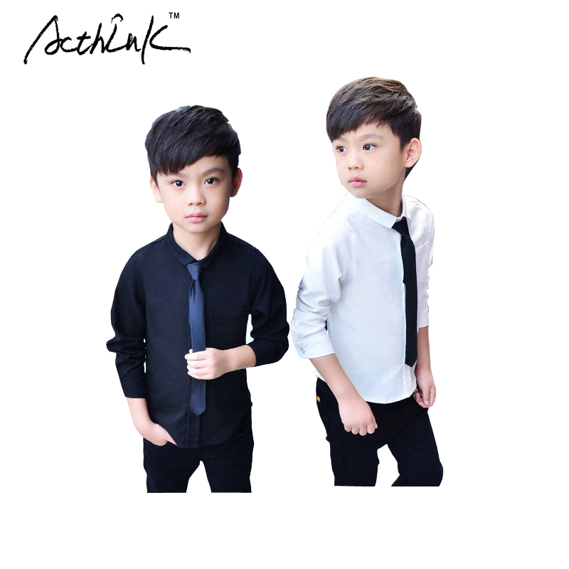 ActhInK 2017 New Boys Wedding Dress Shirts with Tie Brand Preppy ...