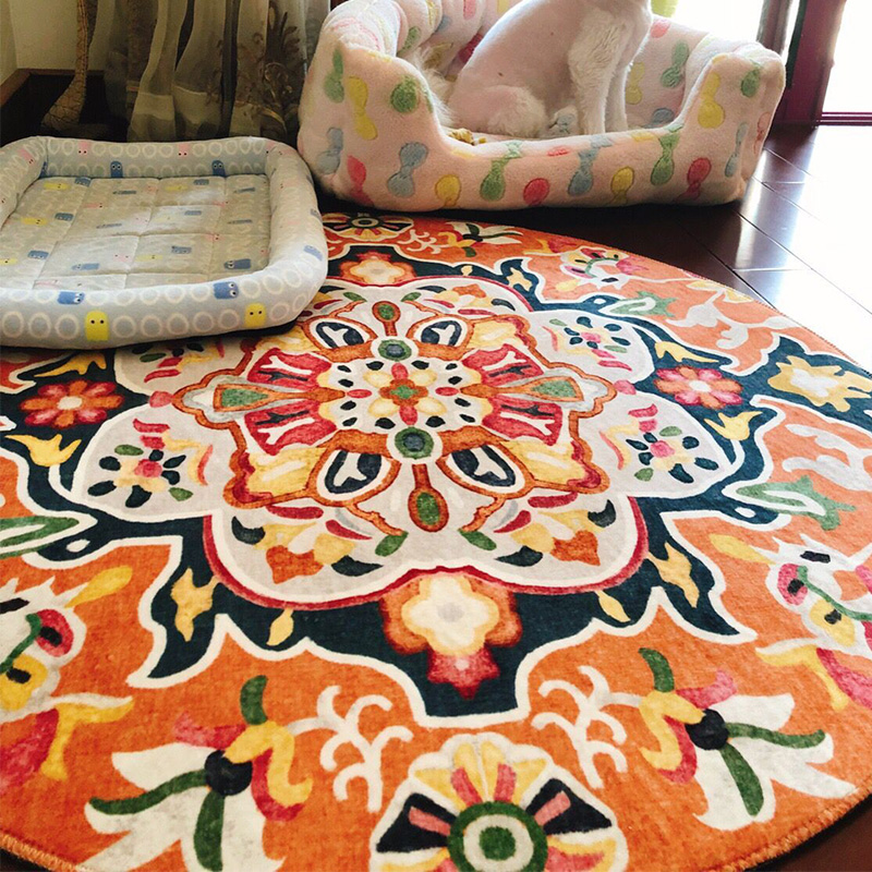 Morocco Nordic Round Carpets For Living Room Floral India Ethnic Carpet Bedroom Bedside Kilim Blanket Floor Rugs Mat Washable