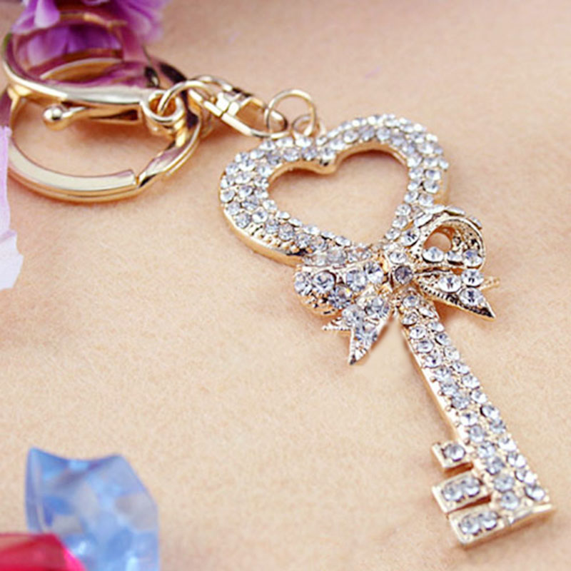 Crystal Heart Butterfly Keychains Bowknot Rhinestone Pendant Charm Bags Keyrings  Girls Women Keys Holder Hanging S102101-in Key Chains from Jewelry ... 78f6db78ea99