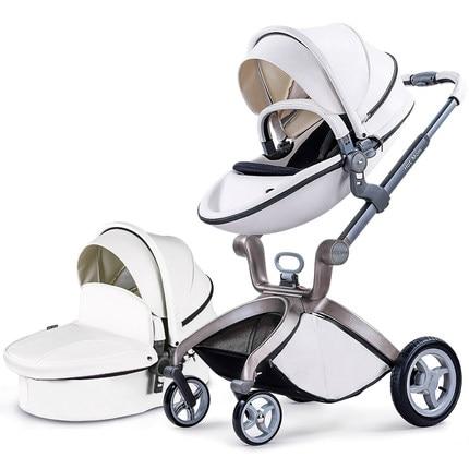 Fashion Egg Shape Baby Stroller Bassinet Set Leather Baby