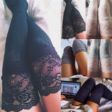 Sexy women's stockings Lace Trim Thigh High Over the Knee Socks Female Erotic Long Cotton Warm Stockings недорого
