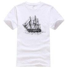 Летняя креативная хлопковая Футболка с рисунком корабля, мужские топы с короткими рукавами и принтом, повседневные футболки#007