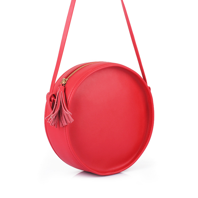 Women Fashion Tassel Split Leather Circular Bag Lady Plain Round Shape  Handbags Shoulder Bag For Teenage Girls Crossbody Bolso