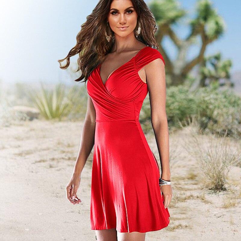 Summer Red Trendy OL Office Elegant Wrap Dress Ladies 2019 Tunic Sexy Club Bodycon Beach Dresses