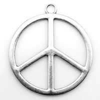 Free Shipping 20pcs Lot 42mm Antique Silver Tone Peace Sign Pendant Charms Jewelry Findings