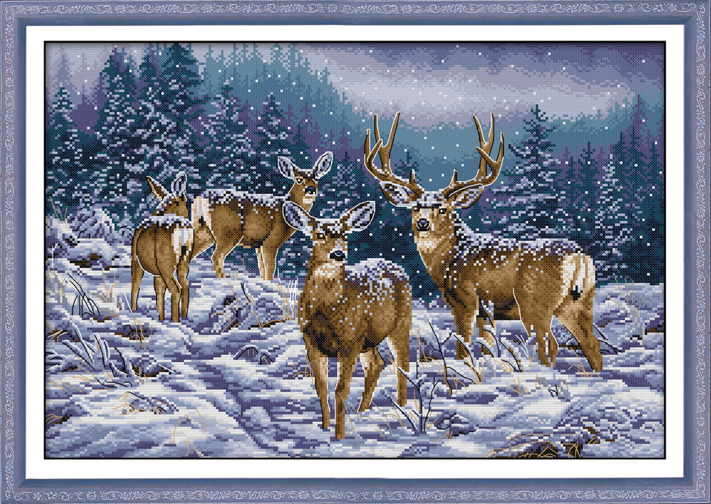 Winter Deer Cross Stitch Kit Aida 14ct 11ct Count Print Canvas Cross Stitches   Needlework Embroidery DIY Handmade