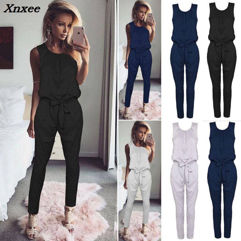 Fashion Chiffon Summer Jumpsuit 2018 Women Blue Black Flounce Bandage Bodycon Long Section Club