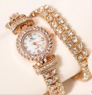 FA0496 Women Watche Luxury Crystal Bracelet Gemstone Wristwatch Dress Watches Women Ladies Gold Watch Fashion Female