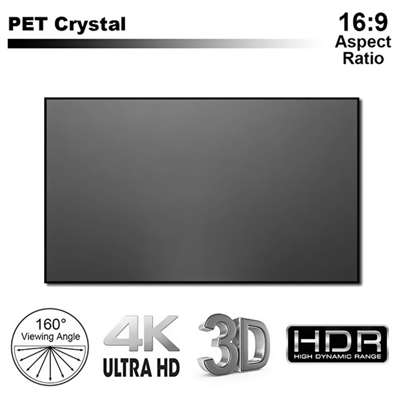16:9 HDTV 3D 4K/8K Ultrashort Anti-light Rejecting Thin Bezel Fixed Frame Hard Screen Ships Fully Assembled, PET Crystal