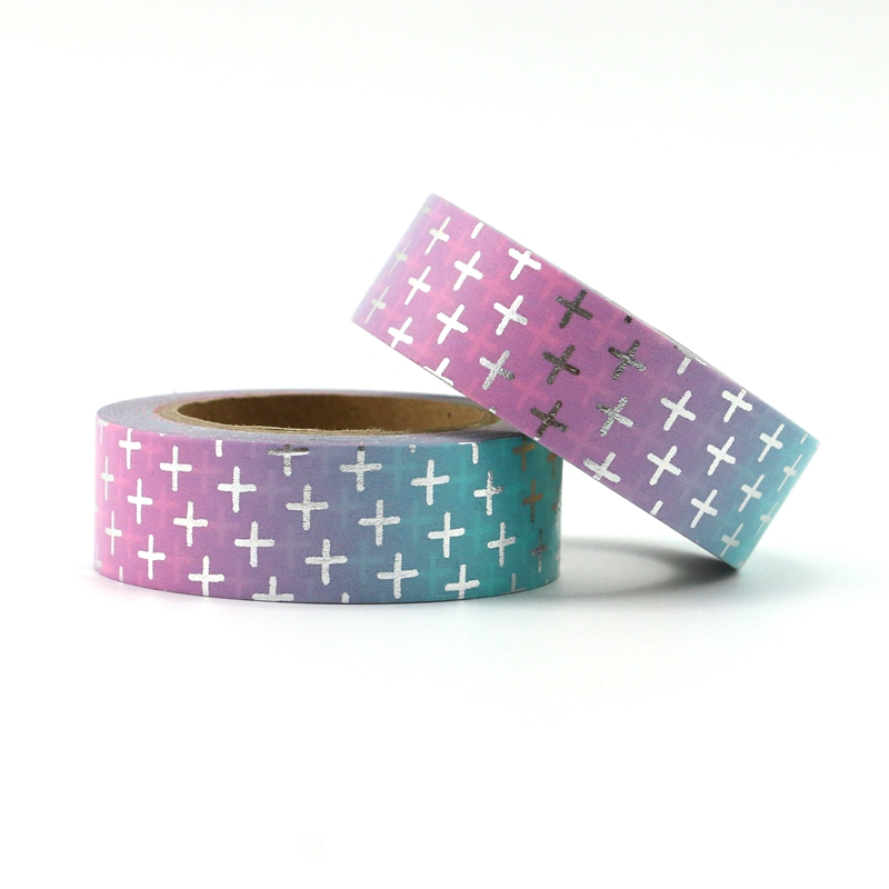 NEW 15mm*10M Blue And Pink Cross Foil Washi Tape Quality Paper Adhesive Tape Golden Sticky Paper Tape Masking Tape Stationery