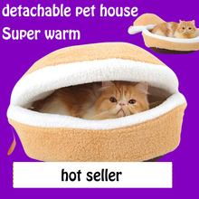 Disassemblability Kennel Cave cat pet bed hamburger Warm Soft Cat nest shell House Pet Sleeping Bag pet Products Size S/M