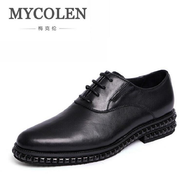 MYCOLEN Luxury Fashion Men Dress Shoes 2017 Autumn Genuine Cow Leather Brogue Mens Business Work Shoes Black chaussure homme