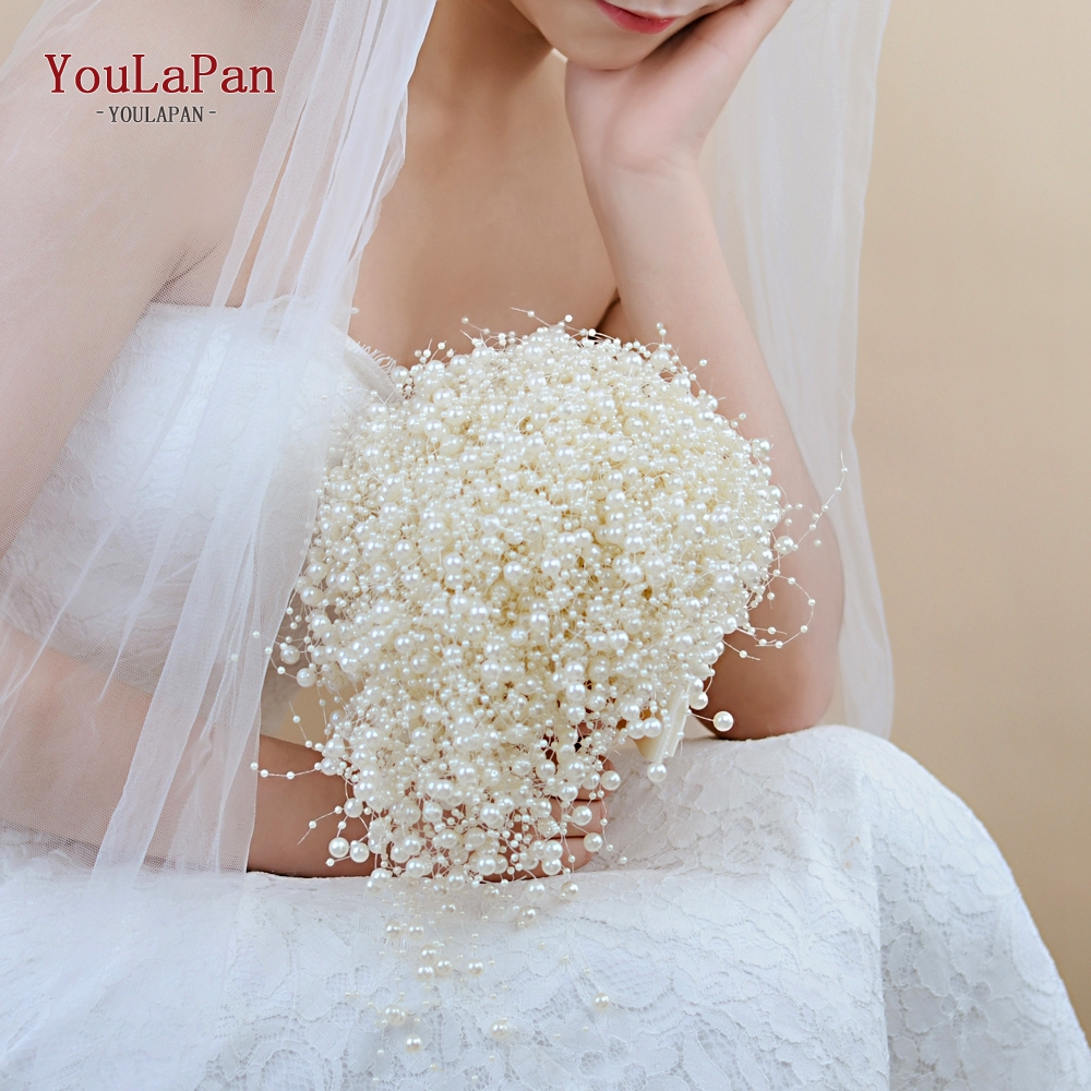 YouLaPan F24 Handmade Bridal Bouquet Beauty Pearl Bride Flower Wedding Party Accessory The Bride's Bouquet Wedding Hand Bouquet
