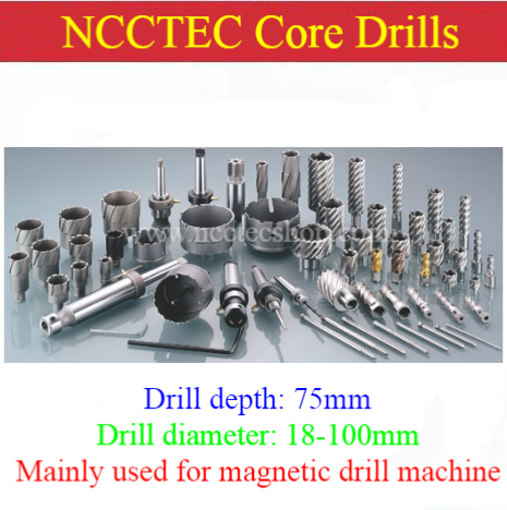 [3'' 75mm drill depth] 18-100mm T.C.T. annular cutter Tungsten carbide tipped core drills bits for magnetic drill machine 35mm ncctec core drill magnetic base drills nmd35c 1 4 14kg net weight 1200w