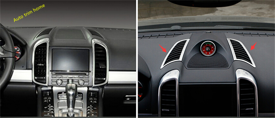 High Quality For Porsche Cayenne 2015 2016 2017 Dashboard Up Air Conditioning AC Vent Outlet Frame Cover Trim 2 Piece / Set accessories for porsche cayenne 2015 2016 2017 metal rear air conditioning ac vent outlet cover trim 2 piece