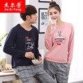 Onesie 2016 новая пара хлопок пижамы Корейской с длинными рукавами женщин костюм Домашнего Интерьера одежда пара пижамы