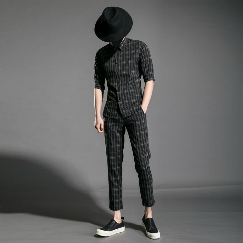 M XXL!! Trend Men's Youth Slim Personality Night Field Hair Stylist Clothing Plaid Nine Pants Half Sleeve Shirt Set.