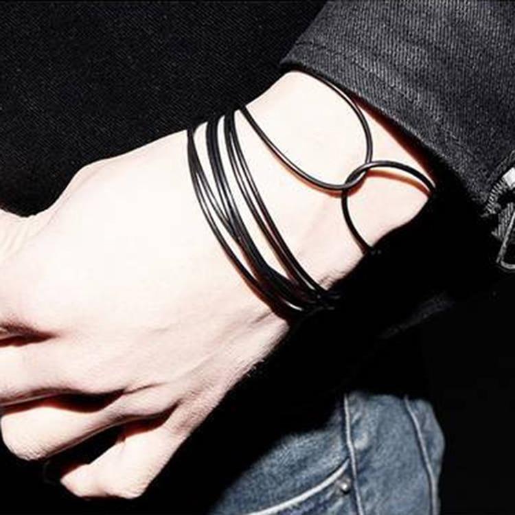 Женские и мужские браслеты из черной силиконовой веревки, простые повседневные браслеты унисекс в стиле панк-рок, ювелирные изделия, Прямая...
