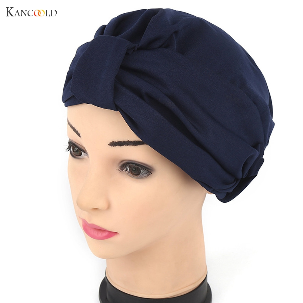 Women Hat Beanie Scarf Turban Head Wrap cap Hats for Women Keep Warm Cancer Chemo Beanies India style Gilding Stretch caps JY4A new cotton slouchy wrinkle cap double flower floral beanie hats for cancer chemo patients