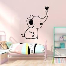 Pretty Cute Elephant Little Heart Vinyl Wall Stickers Wallpaper For Kids Rooms Diy Home Decoration Murals