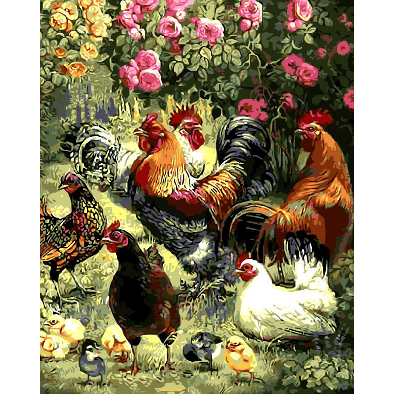 Picture Painting By Numbers Abstract Animal Garden play hi chickens DIY Oil Painting On Canvas Home Decoration For Living Room