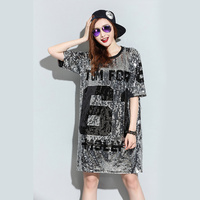 TREND Setter 2018 Summer Style Sequins Plus Size T shirt Women Loose Letters T shirt for Women Silver and Black Tshirt 1705