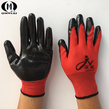 Hot 13 pin heat-resistant non-slip gloves industrial nitrile woven red black work safety gloves comfortable and breathable nmsafety 2018 green nitrile industrial arbeitshandschuhe long gloves diamond grip on plam protective glove for work