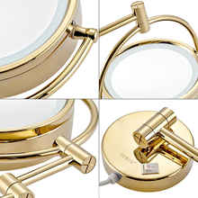 GURUN 10x/1X Magnification Shaving Makeup Mirror with LED Lights  Bathroom Wall Mount Vanity Bright Light Mirrors Gold, Plug in