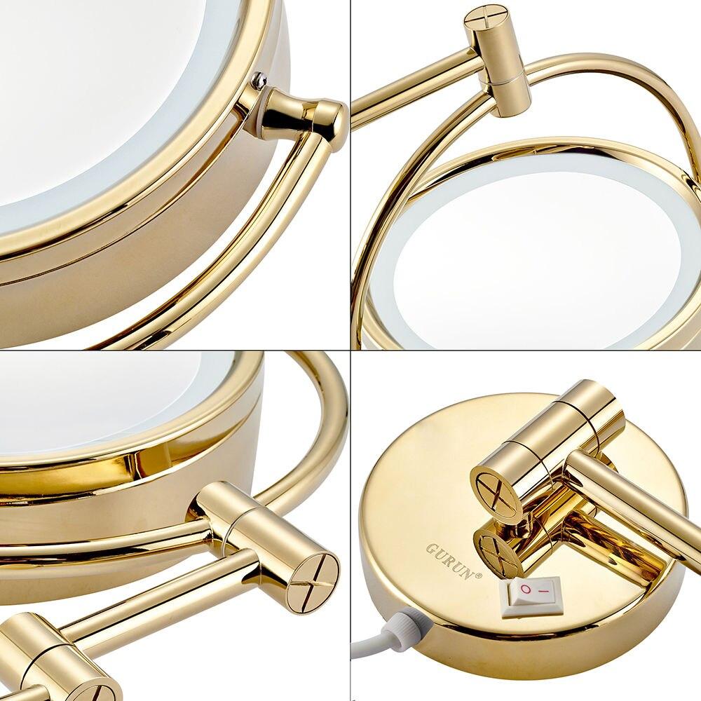 GURUN brijanje šminka zrcala s LED svjetla i 10x / 1X povećanje - Alat za njegu kože - Foto 4