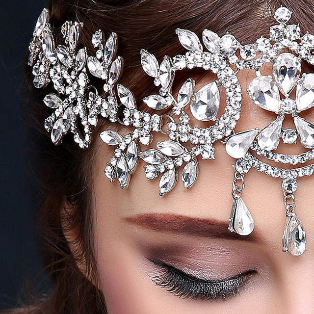 2018 hot sale bridal Hairbands Crystal Headbands women Hair Jewelry Wedding accessories crystal Tiaras And Crowns Head Chain