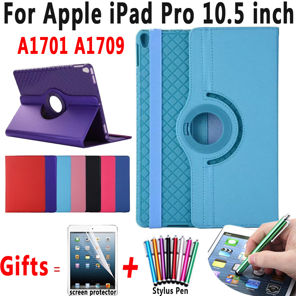 360 Rotatable Tablet PC Soft Cover Case Coque Capa Funda for Apple iPad Pro 10.5 A1701 A1709 Case Stand Holder+ Screen Protector