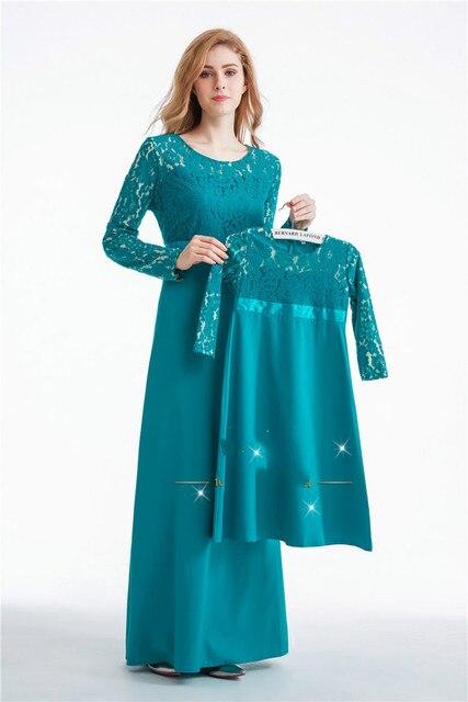התאמת משפחה בגדי אמא שמלות חתונה מוסלמיות ילדה כותנה תלבושות בגדי תינוקות מראה משפחת מסיבת יום הולדת בנות