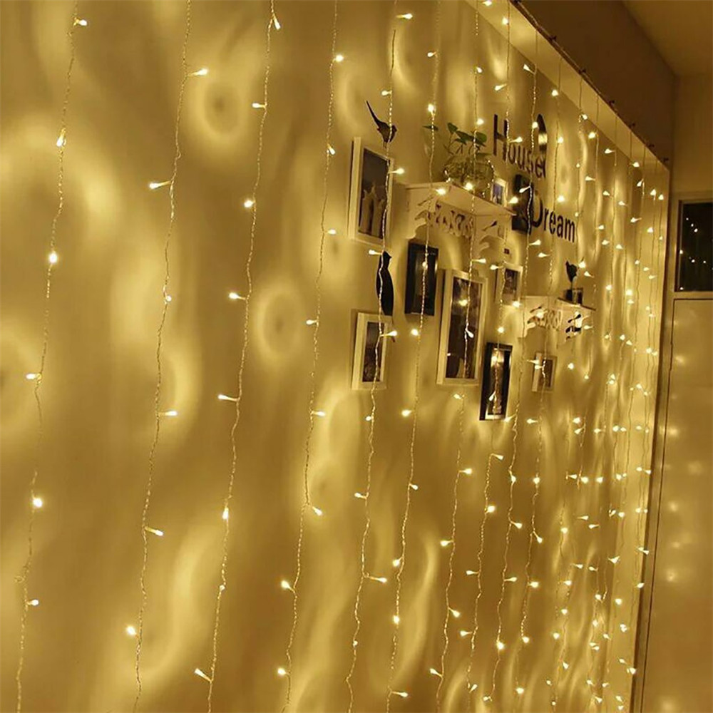 Kmashi 2pcs/lot Warm White LED Curtain Light 3x3M 300led String Light Christmas Fairy Lights Wedding Home 8 Modes 110V-240V