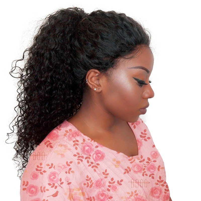 250 Density Lace Front Human Hair Wigs For Women Natural Black Curly Lace Front Wig Pre