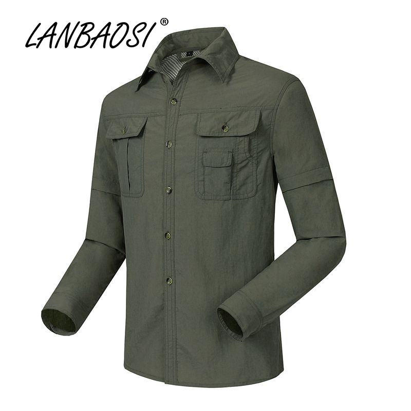 LANBAOSI Outdoor Sports Mens Hiking Shirts Tactical Zip Off Sleeve Quick Dry Convertible Anti-UV Breathable Water Resistant