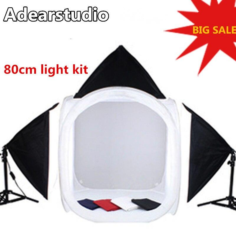 Adearstudio 80cm light softbox photography light set 4 background cloth studio tassen mini studio CD50