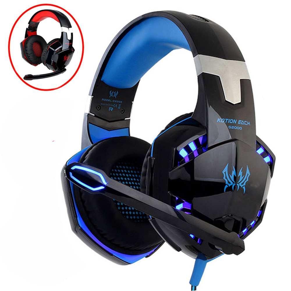 KOTION EACH Earphones With Mic Stereo Gaming Headset with Microphone Headphone For Computer Earphones Gaming Headset and led цена