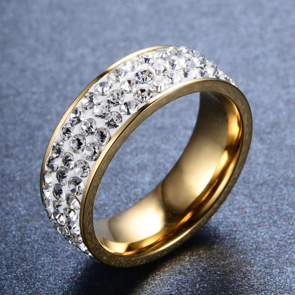 ขนาด6-12เงาออสเตรียคริสตัลลูกปัดไทเทเนียมเหล็กแหวนงานแต่งงานผู้หญิงผู้ชายรักBague H Ommeวาเลนไทน์วันR124