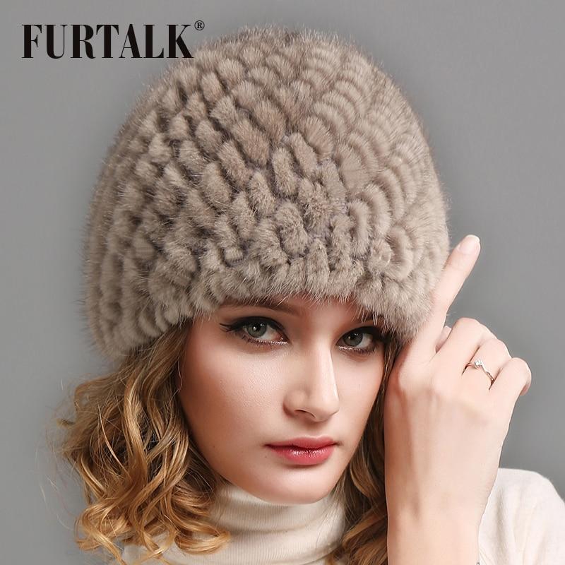 FURTALK  Real Mink Fur Beanie Hat For Women Winter Soft Warm Fur Hat Russian Women Winter Knitted Beanie Hat For Female