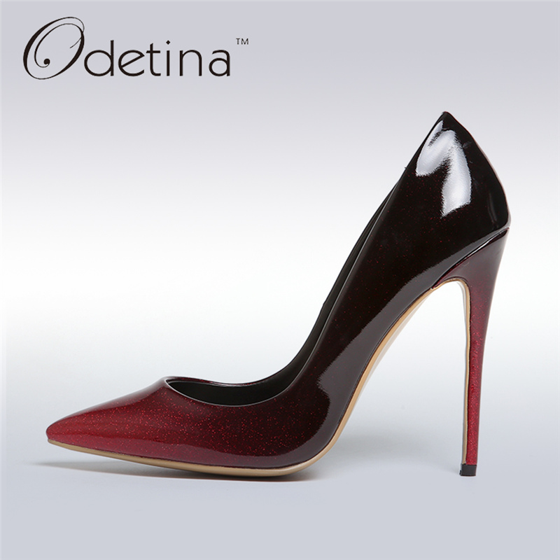 Odetina 2017 New Women 12 CM Gradient Heels Slip on Extreme High Heel Stiletto Pumps Sexy Party Shoes Pointed Toe Big Size 33-43 odetina 2017 new women 12 cm gradient heels slip on extreme high heel stiletto pumps sexy party shoes pointed toe big size 33 43