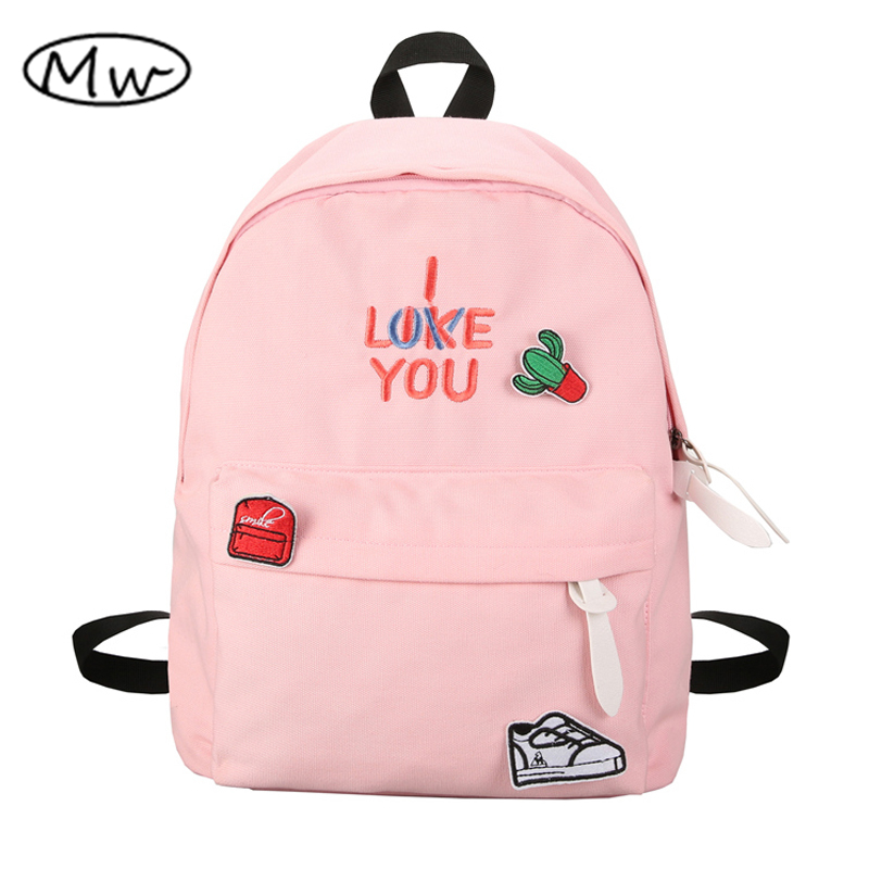 Moon Wood Candy Color Embroidery Letters Backpack With Cute Cactus Labeling Students School Bags Girls Travel