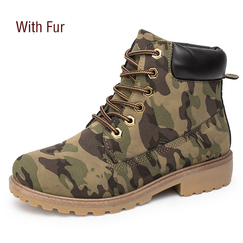 2018 New Camouflage Women Amy Boots Lace Up Leather Martin Boots with Fur Ankle Boots for Women Brand Winter Women Shoes samool 2017 new arrival women boots lace up martin boots women ankle fur boots brand winter women shoes female high heel shoes page 9